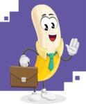 Peeled Banana Cartoon Vector Character AKA Mister Bananashake - Dressed as a Businessman Illustration with Background