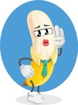 Peeled Banana Cartoon Vector Character AKA Mister Bananashake - Funny Illustration with Background