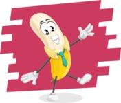 Peeled Banana Cartoon Vector Character AKA Mister Bananashake - Happy Banana Illustration with Background