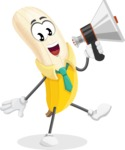 Peeled Banana Cartoon Vector Character AKA Mister Bananashake - Holding a Loudspeaker