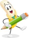 Peeled Banana Cartoon Vector Character AKA Mister Bananashake - Holding a Pencil