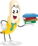 Peeled Banana Cartoon Vector Character AKA Mister Bananashake - Holding Education Books