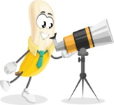 Peeled Banana Cartoon Vector Character AKA Mister Bananashake - Looking through telescope