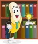Peeled Banana Cartoon Vector Character AKA Mister Bananashake - Love to Learn School Illustration with Books