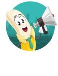 Peeled Banana Cartoon Vector Character AKA Mister Bananashake - Sticker Template