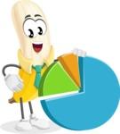 Peeled Banana Cartoon Vector Character AKA Mister Bananashake - With a Business Pie Chart