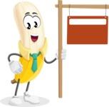 Peeled Banana Cartoon Vector Character AKA Mister Bananashake - With Blank Real Estate Sign