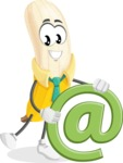 Peeled Banana Cartoon Vector Character AKA Mister Bananashake - With Email Sign - Web