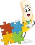 Peeled Banana Cartoon Vector Character AKA Mister Bananashake - with Puzzle