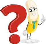 Peeled Banana Cartoon Vector Character AKA Mister Bananashake - with Question mark