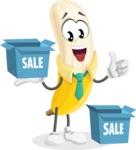 Peeled Banana Cartoon Vector Character AKA Mister Bananashake - With Sale Boxes