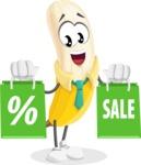 Peeled Banana Cartoon Vector Character AKA Mister Bananashake - With Shopping Bags