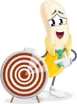 Peeled Banana Cartoon Vector Character AKA Mister Bananashake - With Target