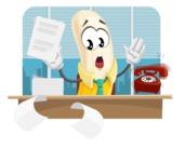 Peeled Banana Cartoon Vector Character AKA Mister Bananashake - Working in Office Illustration Concept
