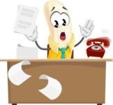 Peeled Banana Cartoon Vector Character AKA Mister Bananashake - Working On Desk and Stressed from Work