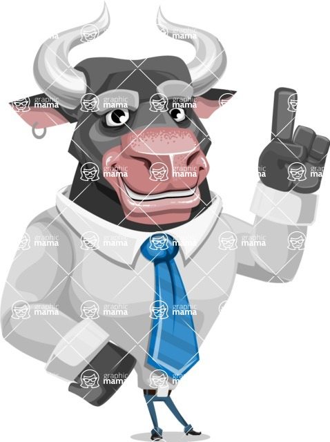 Bull Cartoon Character Dressed with Business Clothes AKA Will Horns - Attention