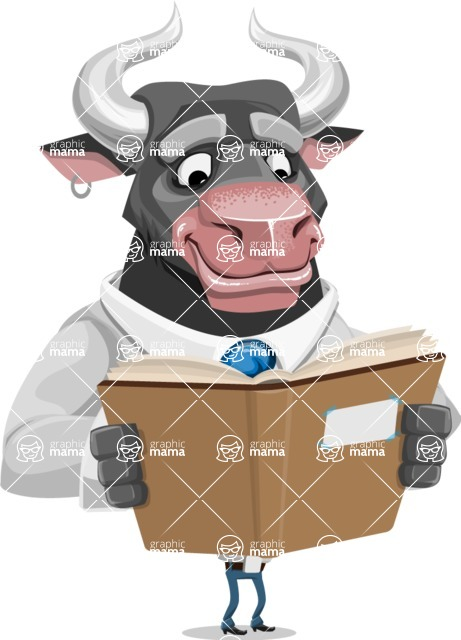 Bull Cartoon Character Dressed with Business Clothes AKA Will Horns - Book 1