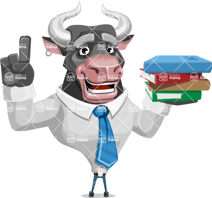 Bull Cartoon Character Dressed with Business Clothes AKA Will Horns - Book 2