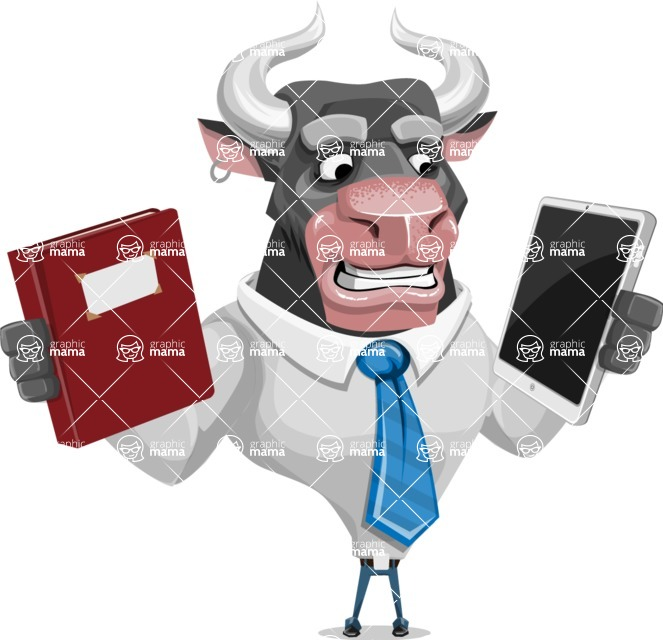 Bull Cartoon Character Dressed with Business Clothes AKA Will Horns - Book and iPad
