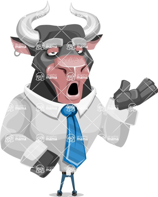 Bull Cartoon Character Dressed with Business Clothes AKA Will Horns - Bored 2
