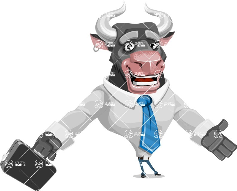 Bull Cartoon Character Dressed with Business Clothes AKA Will Horns - Briefcase 1