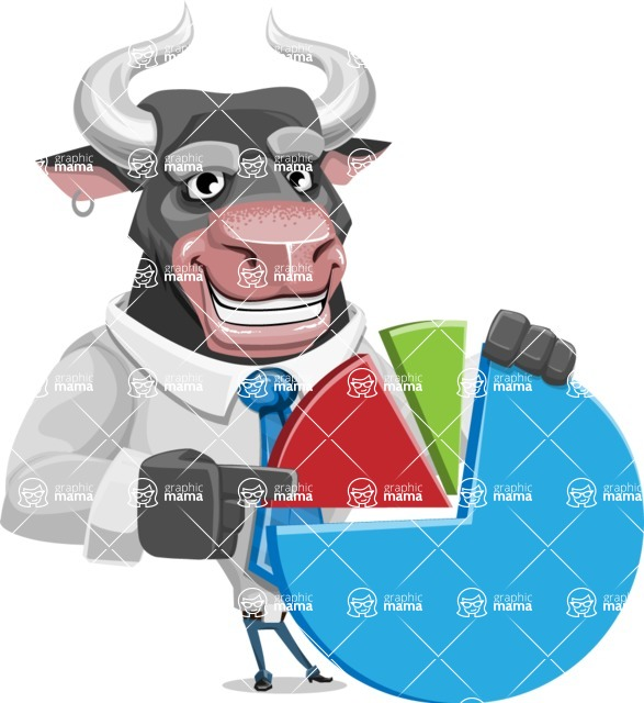 Bull Cartoon Character Dressed with Business Clothes AKA Will Horns - Chart
