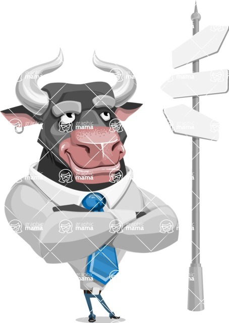 Bull Cartoon Character Dressed with Business Clothes AKA Will Horns - Crossroad