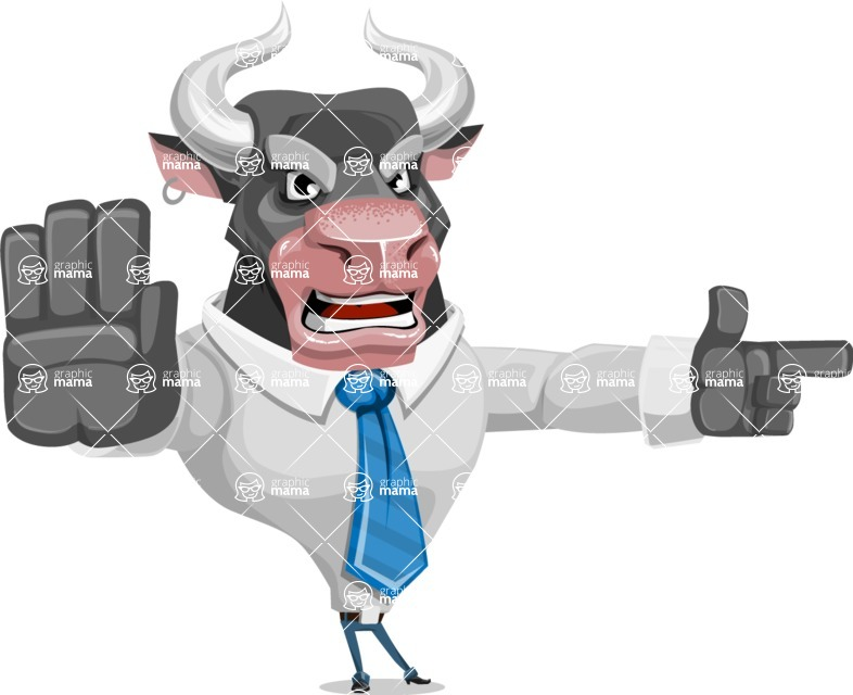 Bull Cartoon Character Dressed with Business Clothes AKA Will Horns - Direct Attention