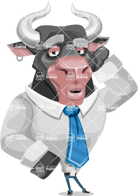 Bull Cartoon Character Dressed with Business Clothes AKA Will Horns - Duckface