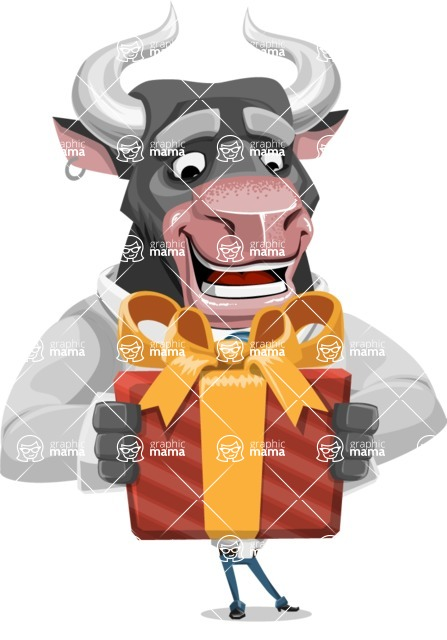Bull Cartoon Character Dressed with Business Clothes AKA Will Horns - Gift
