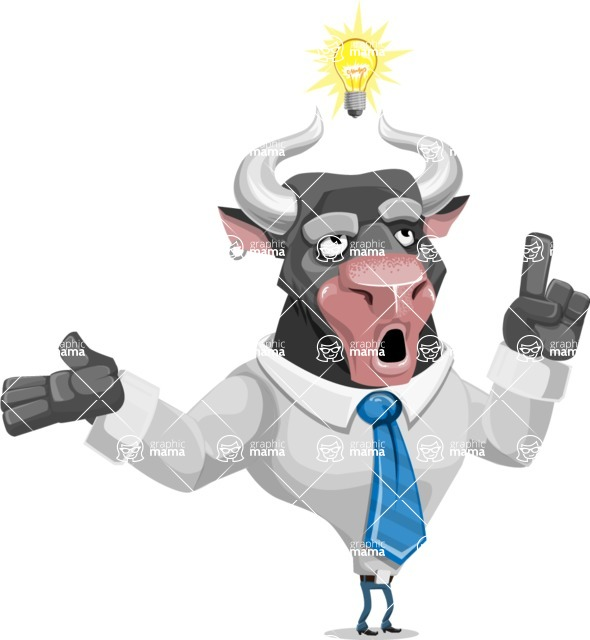 Bull Cartoon Character Dressed with Business Clothes AKA Will Horns - Idea 2
