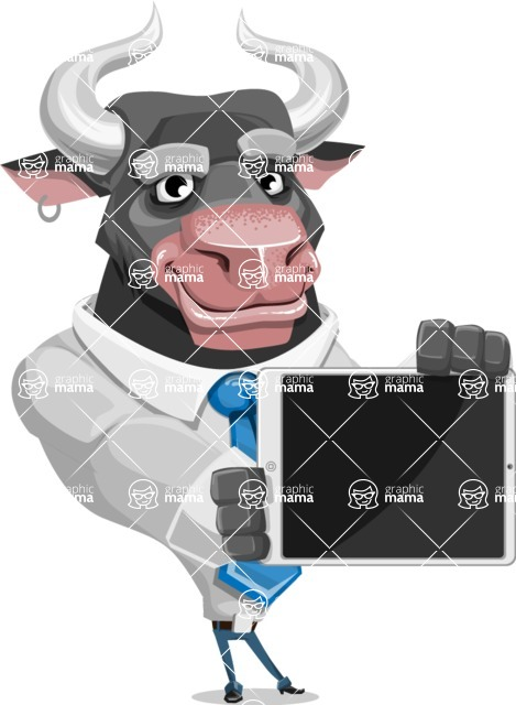 Bull Cartoon Character Dressed with Business Clothes AKA Will Horns - iPad 2