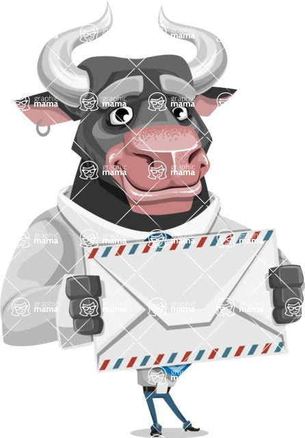 Bull Cartoon Character Dressed with Business Clothes AKA Will Horns - Letter