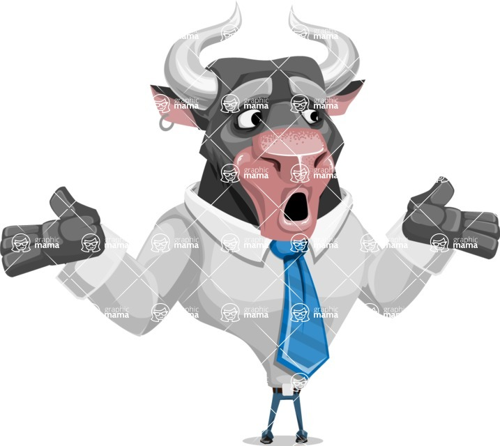 Bull Cartoon Character Dressed with Business Clothes AKA Will Horns - Lost