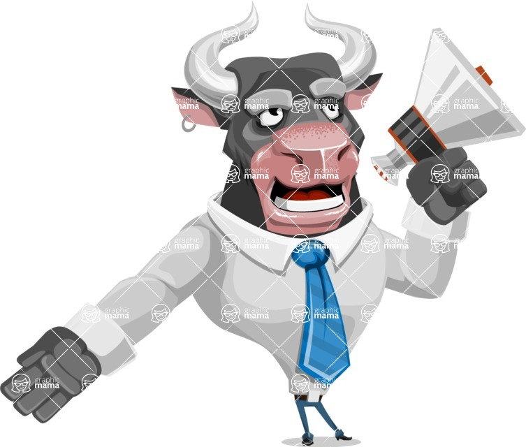 Bull Cartoon Character Dressed with Business Clothes AKA Will Horns - Loudspeaker
