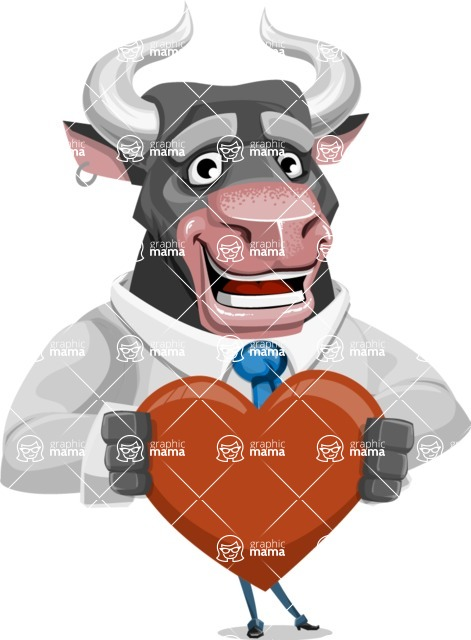 Bull Cartoon Character Dressed with Business Clothes AKA Will Horns - Love
