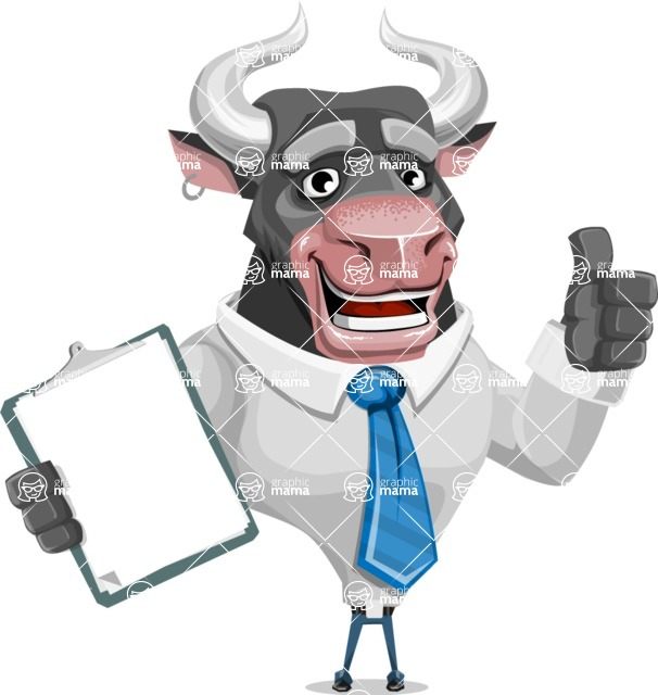 Bull Cartoon Character Dressed with Business Clothes AKA Will Horns - Notepad 1
