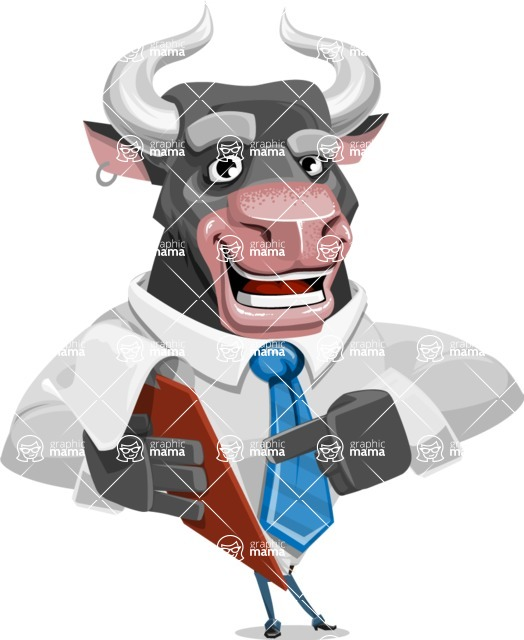 Bull Cartoon Character Dressed with Business Clothes AKA Will Horns - Notepad 3