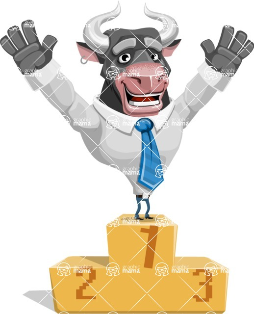 Bull Cartoon Character Dressed with Business Clothes AKA Will Horns - On Top