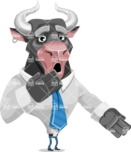 Bull Cartoon Character Dressed with Business Clothes AKA Will Horns - Oops