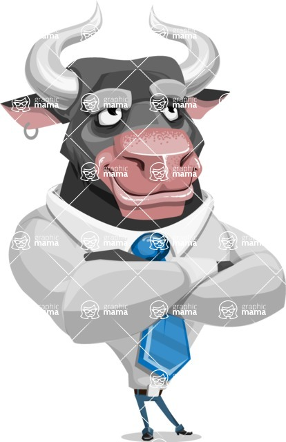 Bull Cartoon Character Dressed with Business Clothes AKA Will Horns - Petient
