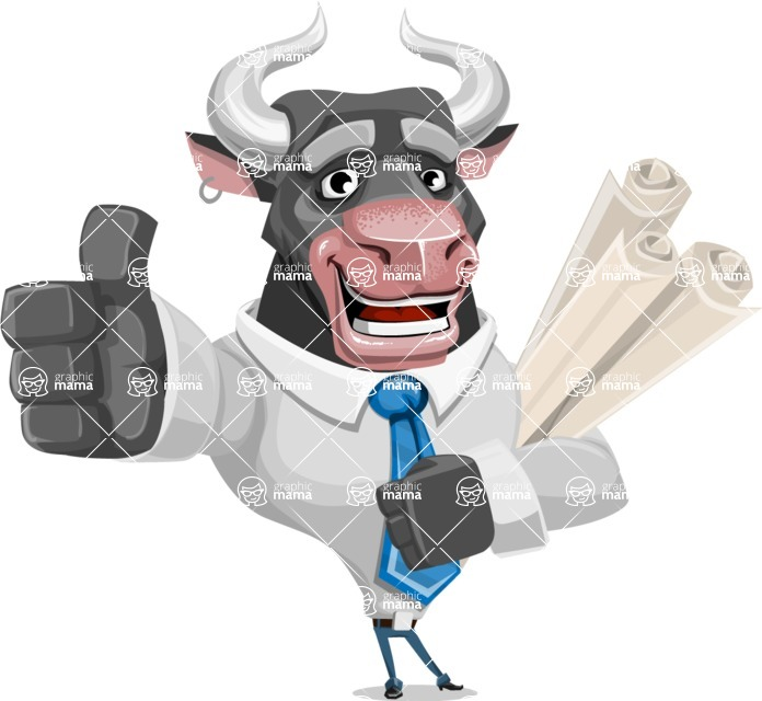 Bull Cartoon Character Dressed with Business Clothes AKA Will Horns - Plans