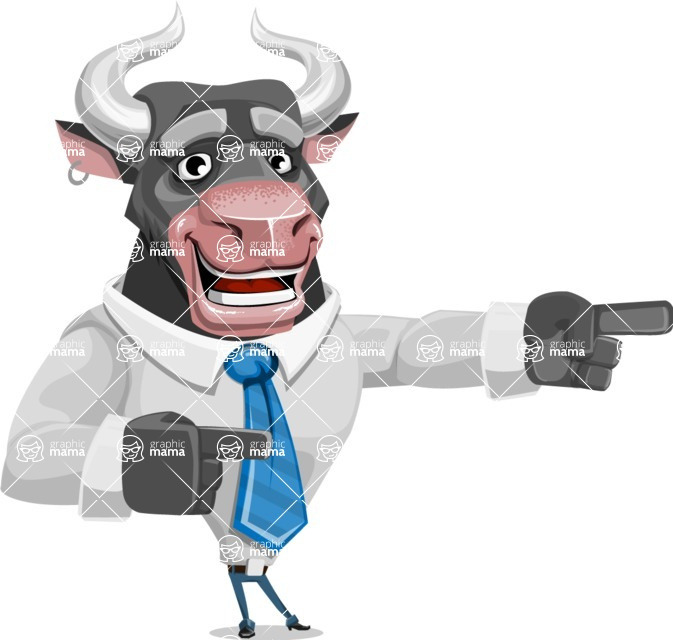 Bull Cartoon Character Dressed with Business Clothes AKA Will Horns - Point 2