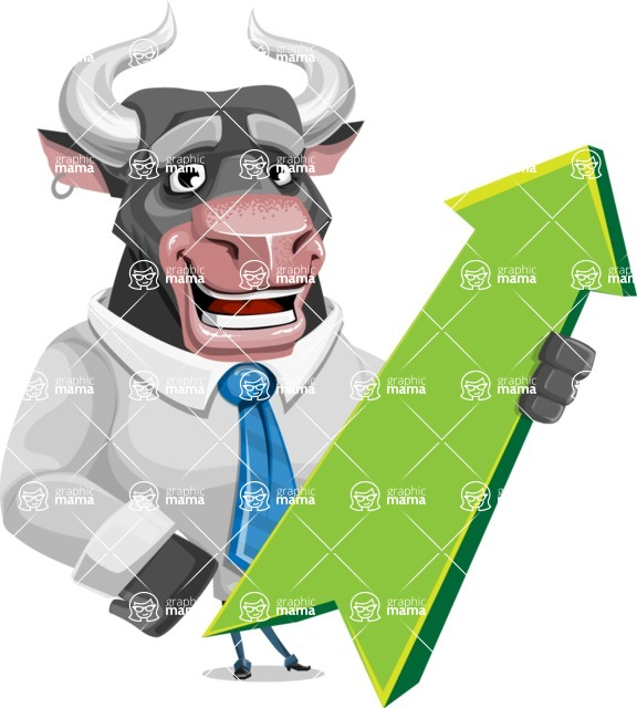 Bull Cartoon Character Dressed with Business Clothes AKA Will Horns - Pointer 1