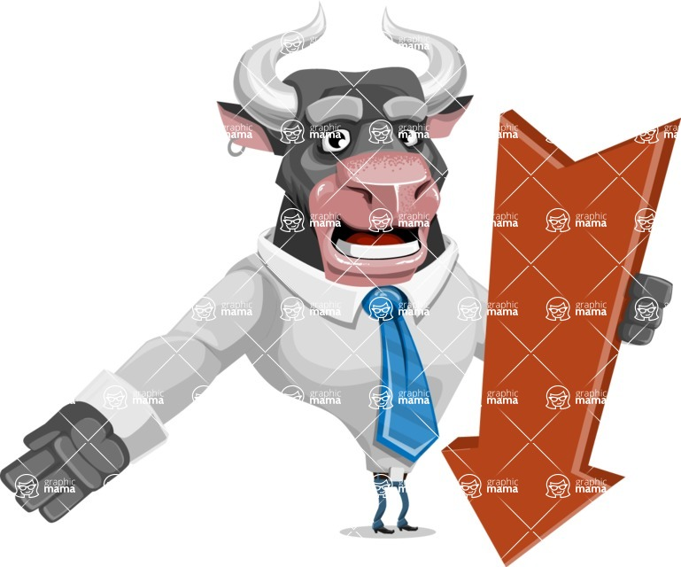 Bull Cartoon Character Dressed with Business Clothes AKA Will Horns - Pointer 3