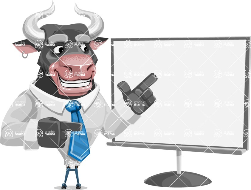 Bull Cartoon Character Dressed with Business Clothes AKA Will Horns - Presentation 2