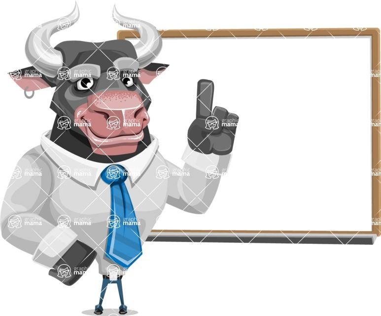 Bull Cartoon Character Dressed with Business Clothes AKA Will Horns - Presentation 3