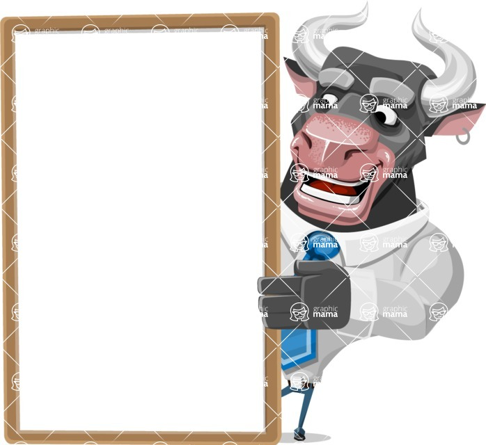 Bull Cartoon Character Dressed with Business Clothes AKA Will Horns - Presentation 4