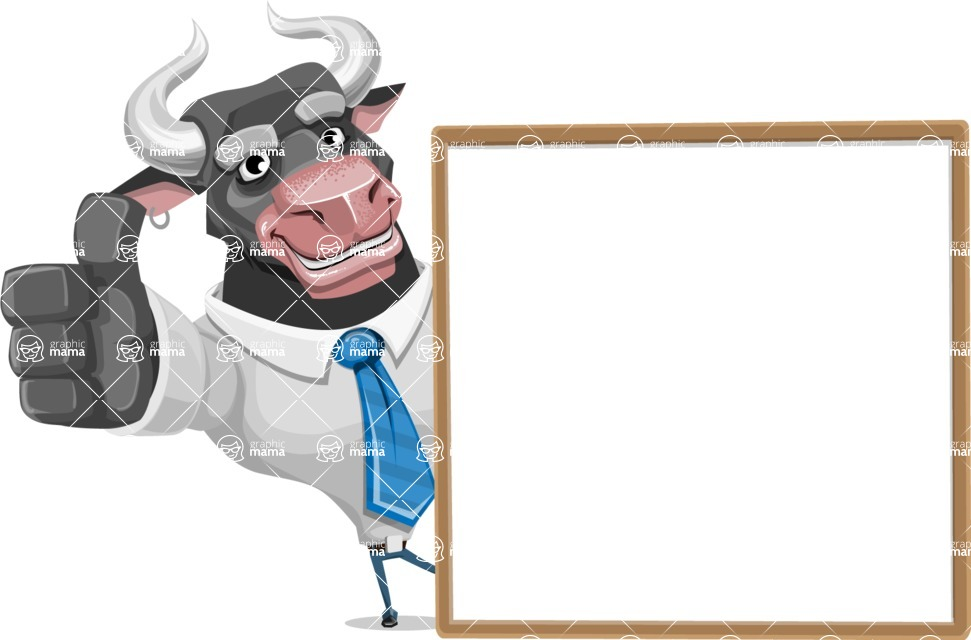 Bull Cartoon Character Dressed with Business Clothes AKA Will Horns - Presentation 5