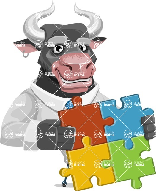 Bull Cartoon Character Dressed with Business Clothes AKA Will Horns - Puzzle
